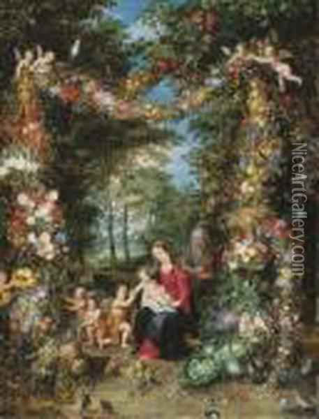 The Virgin And Child Oil Painting - Jan The Elder Brueghel