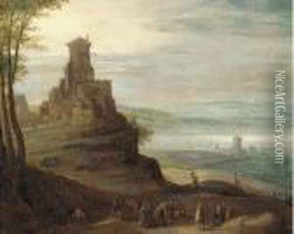 A River Valley With Travellers On A Path By A Hilltop Castle Oil Painting - Jan The Elder Brueghel
