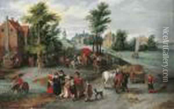 A Village Landscape With Wagons  On A Track By A River, An Elegant Family In The Foreground, A Peasant  Watering His Horse At A Pond Beyond Oil Painting - Jan The Elder Brueghel
