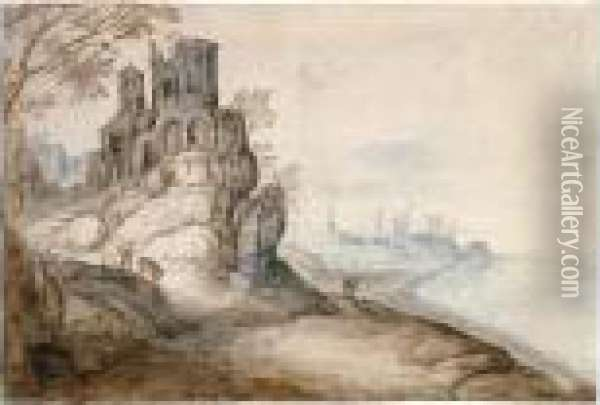 Capriccio Of A Rugged Coastline,  With The Temple Of The Tiburtine Sybil, Tivoli, On A Hill To The Left Oil Painting - Jan The Elder Brueghel