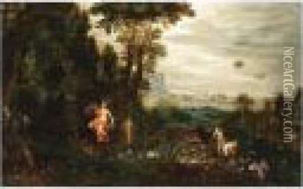 An Allegory Of Air And Water, A Scene With Neptune And Amphitrite In The Background Oil Painting - Jan The Elder Brueghel