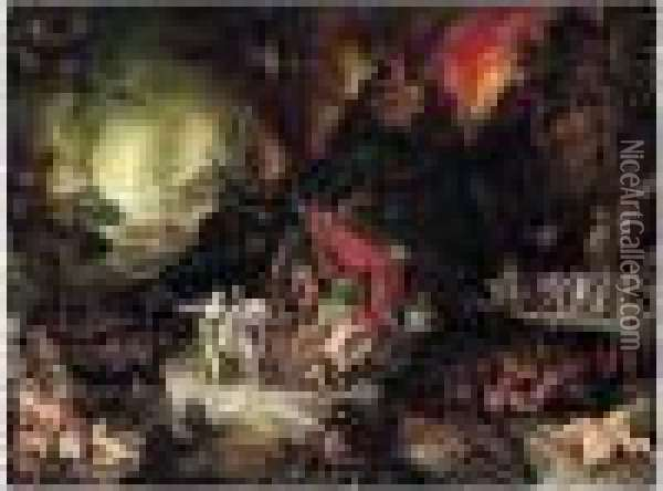 Aeneas And The Sibyl In The Underworld Oil Painting - Jan The Elder Brueghel