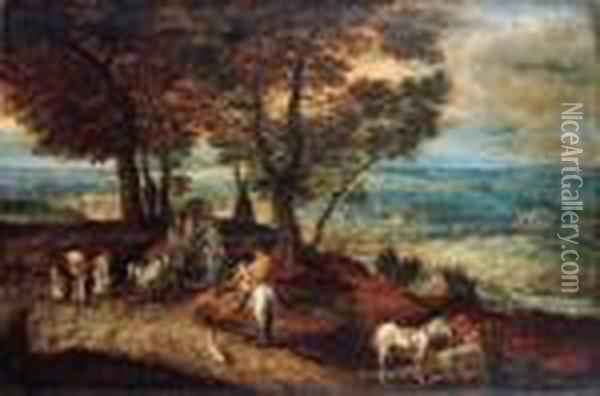 Travellers With Horses And Wagons On A Country Road In Amountainous Landscape Oil Painting - Jan The Elder Brueghel
