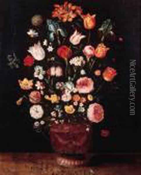 Roses, Tulips, Lilies, Carnations And Other Flowers In A Sculptedvase On A Wooden Ledge Oil Painting - Jan The Elder Brueghel