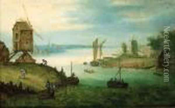 A River Landscape With A Ferry At A Landing Stage By Awindmill Oil Painting - Jan The Elder Brueghel