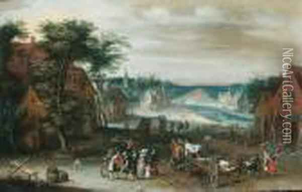 A Village By A River, With Peasants, Townsfolk And Wagons Oil Painting - Jan The Elder Brueghel