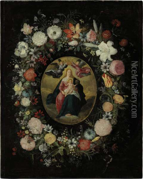 The Virgin And Child With Angels Oil Painting - Jan Brueghel the Younger