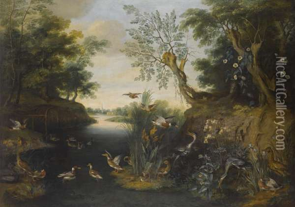River Landscape With Ducks And Other Fowl Oil Painting - Jan Brueghel the Younger