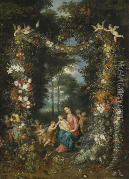 The Virgin And Child With The  Infant St. John The Baptist, Surrounded By Garlands And Swags Of Fruit  And Flowers Oil Painting - Jan Brueghel the Younger