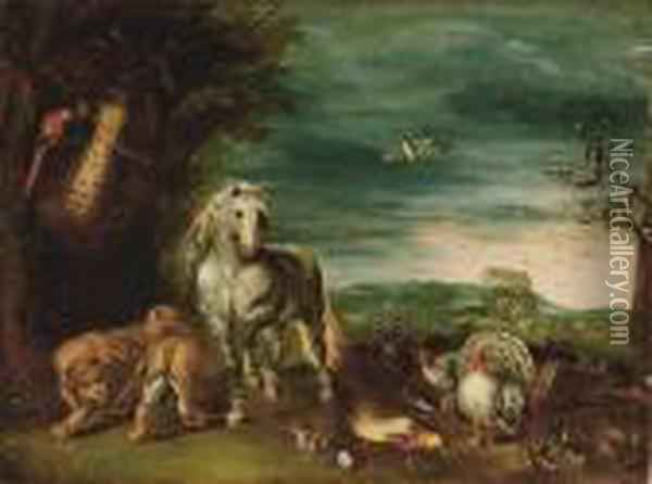A Paradise Landscape With The Animals Leaving Noah's Ark Oil Painting - Jan Brueghel the Younger