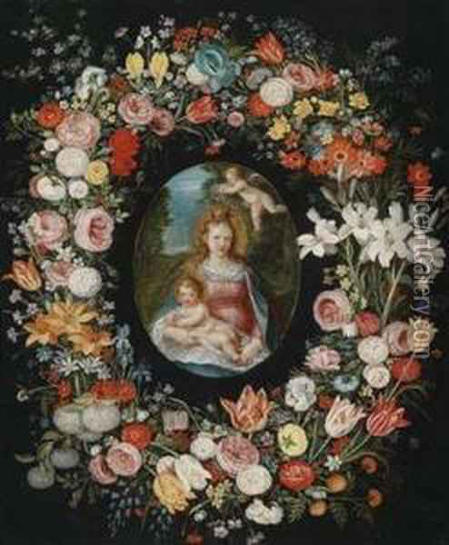 The Virgin And Child Surrounded By A Floral Garland Oil Painting - Jan Brueghel the Younger