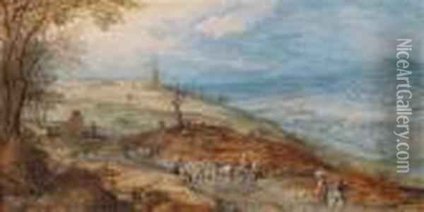 A Landscape With Peasants On A Path Oil Painting - Jan Brueghel the Younger