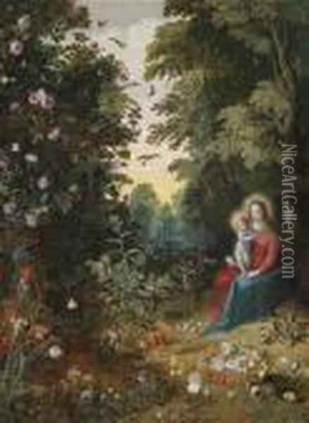 The Virgin And Child In A Wooded Landscape Oil Painting - Jan Brueghel the Younger