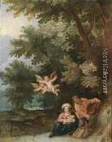 Rest On The Flight To Egypt Oil Painting - Jan Brueghel the Younger