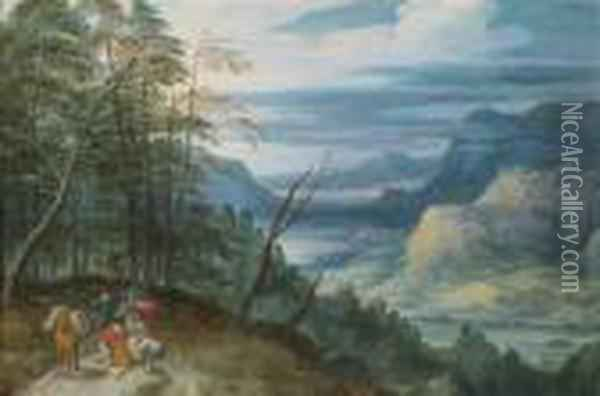 A Wide River Valley With Travellers Oil Painting - Jan Brueghel the Younger