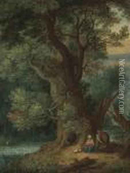 A Landscape With The Rest On The Flight To Egypt Oil Painting - Jan Brueghel the Younger