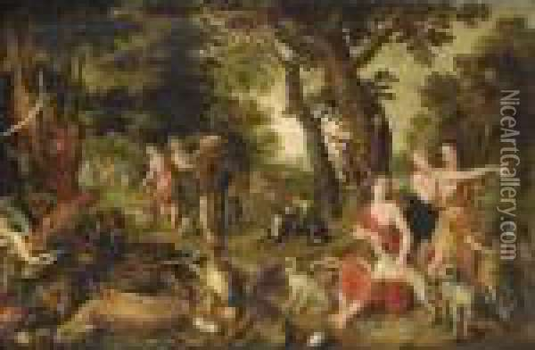 The Return Of Diana And Her Nymphs After The Hunt Oil Painting - Jan Brueghel the Younger