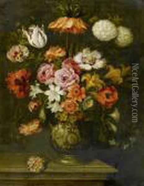 Bouquet Of Flowers In A Porcelain Vase. Oil Painting - Jan Brueghel the Younger