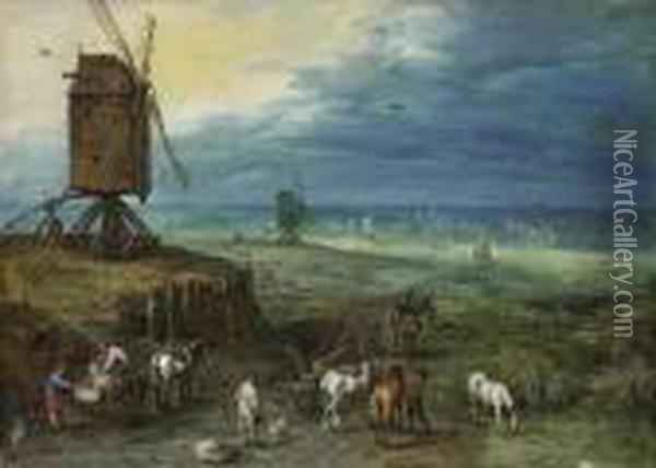 An Extensive Landscape With Figures Unloading Carts Beside Awindmill On A Knoll Oil Painting - Jan Brueghel the Younger