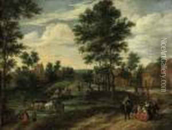 A Village View With Figures On A Track And A Herdsman With Hiscattle Fording A Stream Oil Painting - Jan Brueghel the Younger