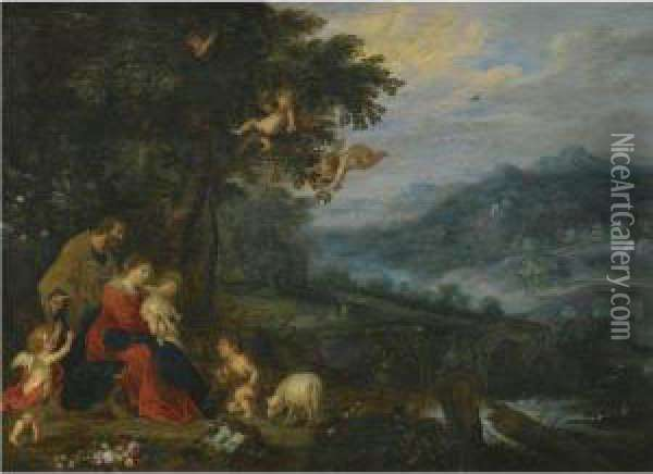 A Wooded River Landscape With The Holy Family And The Infant St.john The Baptist Oil Painting - Jan Brueghel the Younger