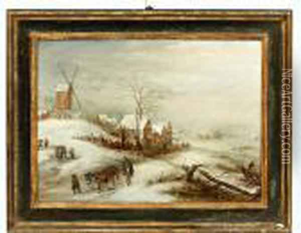 Winters Landschap Met Hofstede En Windmolen Oil Painting - Jan Brueghel the Younger