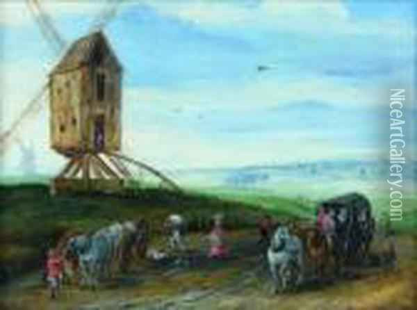 Paysage Au Moulin Oil Painting - Jan Brueghel the Younger