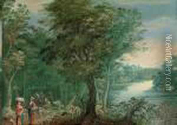 A Wooded River Landscape With Washerwomen On A Track Oil Painting - Jan Brueghel the Younger