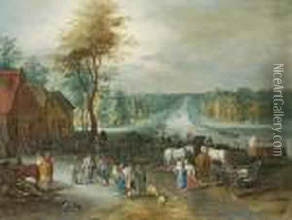 A Village Scene With Peasants Conversing By A Canal Oil Painting - Jan Brueghel the Younger