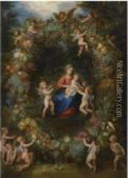 The Virgin And Child With Angels In A Garland Of Flowers Oil Painting - Jan Brueghel the Younger