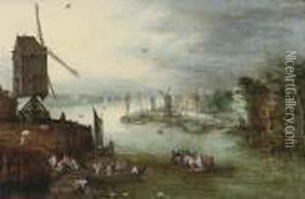 A River Landscape With A Ferry Crossing Near A Windmill, A Villagebeyond Oil Painting - Jan Brueghel the Younger