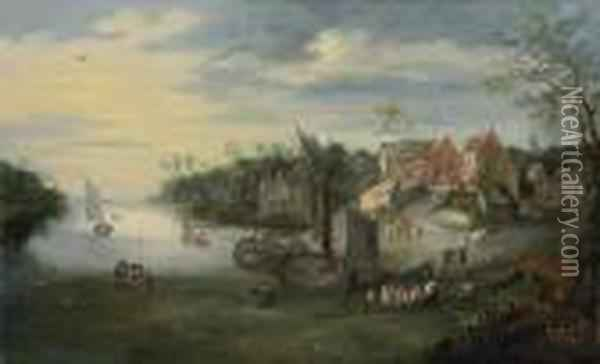 Landscape With Boats Coming Down The River Todock By A Village Oil Painting - Jan Brueghel the Younger