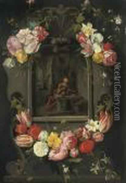 Swags Of Mixed Flowers Framing An Image Of Saint Jerome Oil Painting - Jan Brueghel the Younger