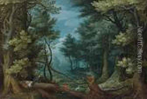 A Forest Landscape With Hunters Giving Chase To A Stag Oil Painting - Jan Brueghel the Younger