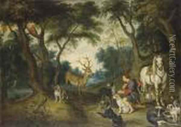 The Vision Of Saint Hubert Oil Painting - Jan Brueghel the Younger