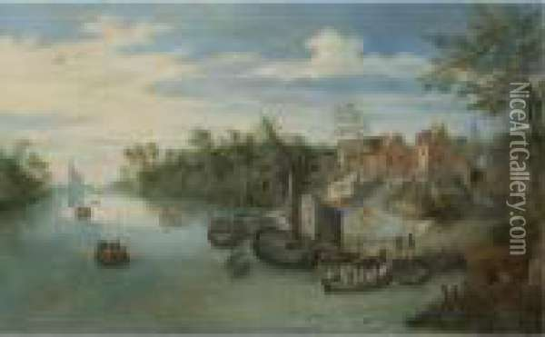 A River Landscape With Boats Moored By A Village Oil Painting - Jan Brueghel the Younger
