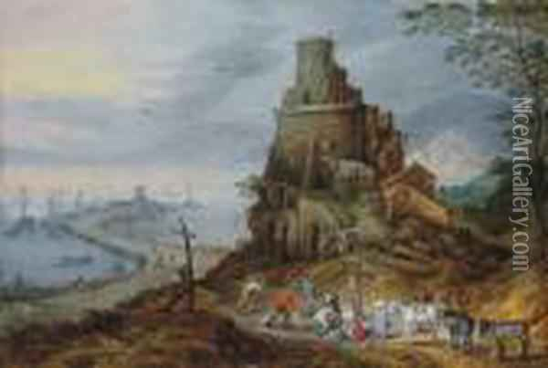 A Coastal Landscape With Fishermen With Their Catch By A Ruined Tower Oil Painting - Jan Brueghel the Younger