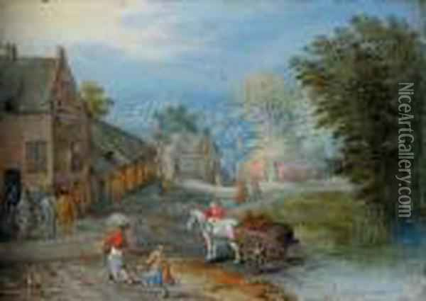 A Village Street With Figures  Leading A Horse And Cart, An Extensive Wooded Landscape Beyond Oil Painting - Jan Brueghel the Younger