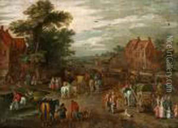 By Med Rikt Staffage Av Figurer, Hastar Och Vagnar Oil Painting - Jan Brueghel the Younger