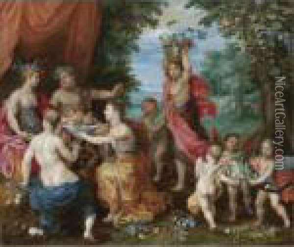 A Bacchanal With Ceres, Bacchus And Venus Oil Painting - Jan Brueghel the Younger
