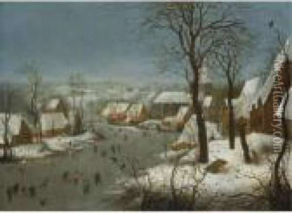 Winter Landscape With A Bird-trap Oil Painting - Jan Brueghel the Younger