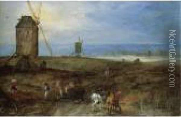 An Open Landscape With Travellers Before A Windmill Oil Painting - Jan Brueghel the Younger