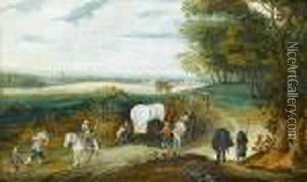 A Wooded Landscape With Travellers On A Country Path Oil Painting - Jan Brueghel the Younger