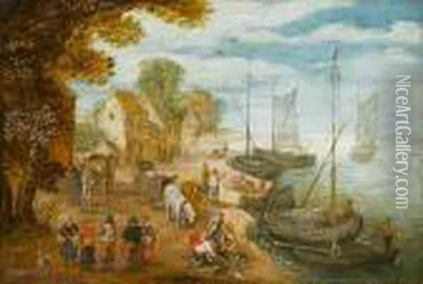 A Riverside Village With Fishermen And Their Catch And Figures Loading Barges Oil Painting - Jan Brueghel the Younger
