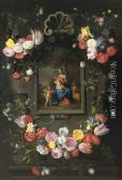 The Madonna And Child With Saint John The Baptist Oil Painting - Jan Brueghel the Younger