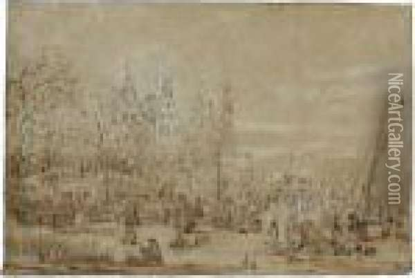 Winter Landscape With Figures On The Ice, A Castle Amongst Trees Behind Oil Painting - Jan Brueghel the Younger