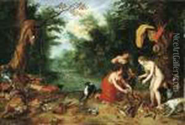 Diana And Her Nymphs Inspecting Their Catch After The Hunt Oil Painting - Jan Brueghel the Younger