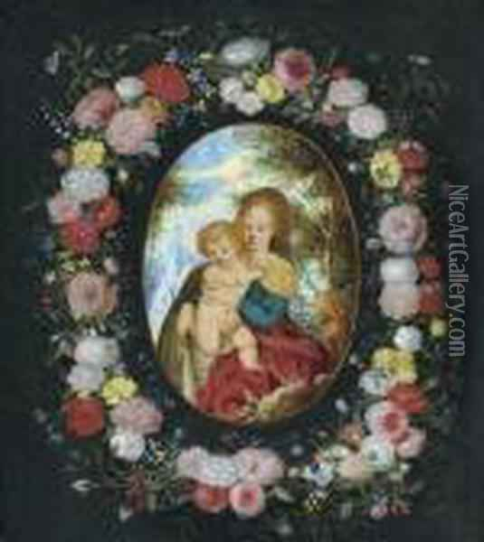 Floral Garland Around A Medallion With Madonna And Child Before A Landscape. Oil Painting - Jan Brueghel the Younger