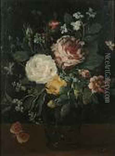Roses, A Peony With Forget-me-nots And Other Flowers In A Glass Vase Oil Painting - Jan Brueghel the Younger
