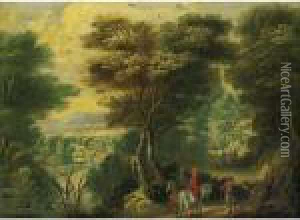 Landscape With Travelers Along A Forrest Path Oil Painting - Jan Brueghel the Younger